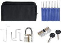 18 شفافة أدوات الأقفال الممارسة قفل عدة مع كسر مفتاح النازع أداة وجع إزالة خطاف الأجهزة قفل اللقطات أدوات الأقفال