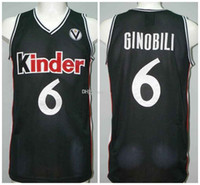 Manu Ginobili # 6 Kinder Bologna Bolonia Retro Basketbol Jersey Erkek Dikişli Özel Herhangi Bir Numara Ad Adseys