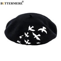 BUTT 100% Wolle Französisch Barett Frauen Vogel Stickerei Woll weiblich Beret Schwarz Weiß-Rosa-Grau Mode Damen-Maler-Hut