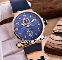 저렴한 새로운 Maxi Marine 다이버 1186-126-3 / 63 1186-126 자동 망 시계 파워 리저브 블루 다이얼 로즈 골드 케이스 고무 시계 Hello_Watch