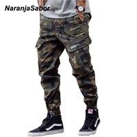جيوب NaranjaSabor رجل كامو الأدوات نمط السراويل 2020 الربيع التمويه متعدد بنطلون ذكر العلامة التجارية الملابس زائد الحجم 46 N646