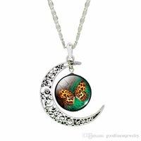 Halsband pendlar silver mode måne fjäril hängande känsliga halsband för kvinnor cabochon glas halsband