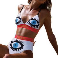 2019 الصيف عارضة ملابس الشاطئ 2 قطعة المرأة مجموعة إلكتروني عيون طباعة بيكيني الدعاوى حمالة السراويل القصيرة مثير outdoors الملابس