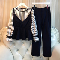 2018 Plus Size 4Xl Women's Elegant Ladies 2 Piece Set Striped Patchwork Flare Sleeve Top And Elastic Waist Pants Suit