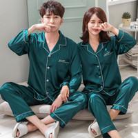الملابس زوجين بيجامة الحرير الحرير Pijamas كم طويل ملابس للنوم، له ولها الرئيسية البدلة بيجامة لمحبي رجل امرأة العشاق
