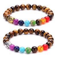 La venta directa de siete colores siete chakras pulsera de la cabeza de Buda, pulsera de piedra ojo de tigre con cuentas naturales