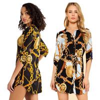 Moda Orta Kollu Zincir Baskı Kadın Bluz Elbise Ve Tops Yaka Dantel-up Düğmesi Yaz Gömlek Rahat Kısa Elbise Tops