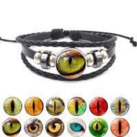 3D Dragon Mauvais Oeil En Cuir Wrap bracelet Hommes Eyeball Verre Cabochon 18 MM Ginger Snap Boutons Charme Bracelet Pour Les Femmes Bijoux De Mode