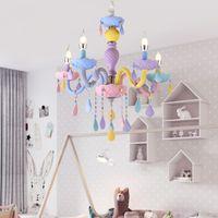Moderne LED Kronleuchter Lichter-Kind-Raum Bunte Kristall Metall Licht Leuchte Schlafzimmer Kinderzimmer Deckenleuchte Innenhauptdekoration