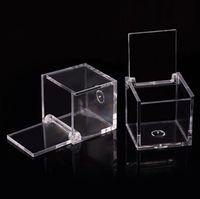 200pcs del commestibile di plastica trasparente Piazza Bomboniera Scatola flip trasparente imballaggio del regalo favore della cassa di nozze souvenir RRA2070