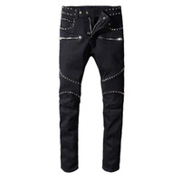 2020 Mens Distressed rasgado Biker Jeans Slim Fit Motociclista Denim For Men Fashion Designer Hip Hop Jeans Mens Boa Qualidade