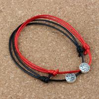 50PCS / porciones antigua de plata Árbol de la vida granos de la aleación kabbalah pulseras ajustables del cable de Corea del algodón encerado negro (rojo) B-73