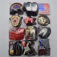 120pcs / set Mixta bandera / arco iris / estrella de lentejuelas bordado cose en / hierro en remiendos Conjunto Placa bolsa tela de la aplicación Craft