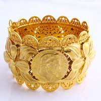 70mm éthiopien Fashion Coin Grand Large Bangle CARVE 22K BAHT Solid Gold THAI GF Dubai Cuivre Bijoux Erythrée Bracelet Accessoires