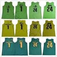 NCAA College Oregon Ducks Basketball Jerseys 1 J Bell 24 Dillon Brooks Homens Team Color Verde Amarelo Universidade para os fãs do esporte Atacado