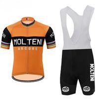 New 2021 Men Molteni Team Велоспорт Джерси Набор / с коротким рукавом Велоспорт Одежда MTB / Дорожный велосипед Носить 19D Гель Pad Ropa Ciclismo Велосипеда Maillot