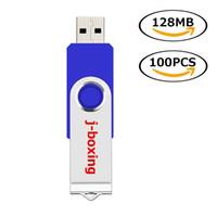 Синие вращающиеся флэш-накопители USB-накопителя 100 лотов 128 МБ поводки USB 2.0 металлическая ручка для пальцами, накопители памяти памяти памяти для компьютерного ноутбука