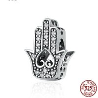 Europe America 925 Sterling Silver Love Heart Hand Of Fatima Charm Bead Fits Pandora Bracelet DIY for Women Jewelry Accessories