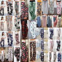 28styles floral pants largo calças elástico cintura listra palazzo capris senhora esporte casual solto calças longas mulheres calças fitness yoga aaa2204