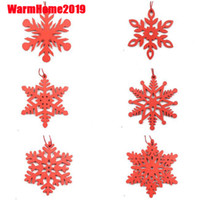 DIY White&Red Snowflakes Christmas Wooden Pendants Ornaments...