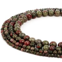 Pedra Natural Unakite Stone Beads Pedra De Energia Solta Pérolas para As Mulheres Pulseira DIY Fazer Jóias 1 Vertente 4-10mm