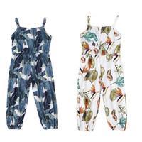 enfants Stylistes filles floral barboteuse bébé Salopettes d'impression feuille jarretelle 2019 Summer Boutique pantalon sangle bébé Boho C6578