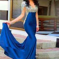 Sirène robes de bal 2019 sexy élégante voir à travers le cristal robes formelles à manches longues robe de soirée bleu royal