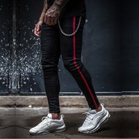 Mens rayé skinny fit noir denim jeans hip hop streetwear couleur unie, plus la taille slim fit coton léger jeans pour hommes