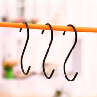 3 PC / porción Negro ganchos en forma de S Hanger Holder duradero colgantes de acero inoxidable Corchete honda Inicio Stroage Bastidores