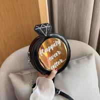 Mini Sac à bandoulière Sac à main Paillettes circulaire dames Sac à bandoulière Femmes Lady ronde bourse de portefeuille en cuir