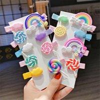 2 / 3pc / set Cute Girl Nuvola clip Lollipop arcobaleno forcine del fumetto di Pin di Bobby capelli per le ragazze dei bambini fascia Bambino Accessori