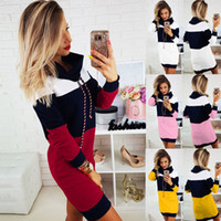Women Patchwork Hooded Long Sleeve Dress Fashion Ladies Stra...