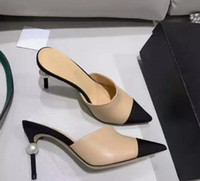 Горячая распродажа - женщины козьей кожи Grosgrain туфли на высоком каблуке из натуральной кожи с жемчугом на высоких каблуках OL кроссовки леди бежевый белый черный одиночные туфли оригинальная коробка