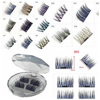 4 pz / paia colorato Magnetico Eye Lashes Colorato Ciglia Finte Extension Resuable Magnet Ciglia 14 design KKA6713