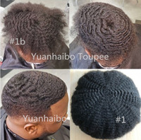 6mm Afro Hair Lace Lace Toupee Brasileiro Virgem Humano Cabelo Humano Afro Curl Homens Peruca Afro Kinky Curly Toupee para Homens negros Frete Grátis