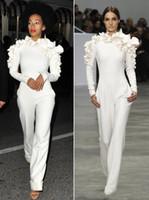 새로운 도착 유명인 드레스 2019 새로운 흰색 다리 jumpsuit 긴 소매 꽃과 함께 높은 목 공식 파티 이브닝 드레스 사용자 정의 568