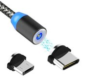 المغناطيسية شاحن من نوع C مايكرو كابلات USB الهاتف الخليوي نايلون مزين أقوى معدن المغناطيس حبال 1M شاحن سريع لكابلات الهواتف الذكية