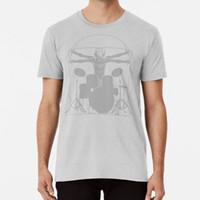 T-shirt da uomo da Vinci Drums T Shirt Leonardo Vitruvian Man Drummer Music