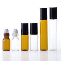 Çelik Metal Silindir Topu Siyah Cap ile 3ML 5ml 10ML Mini Rulo On Cam Şişe Temizle Amber CAM Fragrance PARFÜM TEMEL YAĞ Şişe