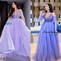 Abiti da sera viola 2019 con Dubai Medio Oriente Abiti da party Abito da ballo Prom Dress Perline Cristalli Pieghe Plus Size Vestidos de Festa