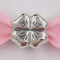 Authentische 925 Sterling Silber Perlen Glück Vier Blatt Klee Charm Charme passt Euro Pandora Stil Schmuck Armbänder Halskette 790157