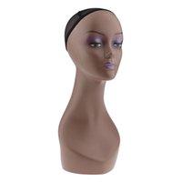 Kadın Manken Mankeni Kafa Modeli Peruk Cap Takı Şapka Ekran Tutucu Kahve Rengi Peruk Eğitim Başkanı Standı