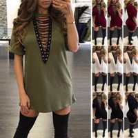 3XL Cotton Blend Soft Breathable Summer T- shirt Dresses V Ne...
