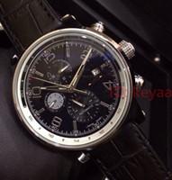 Top Men Edelstahl-automatische Bewegungs-Uhr-Männer-Schwarz-Leder-große Vorwahlknopf-Sport-Uhren Mechanische Herren Armbanduhr