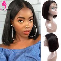 Kurze Bobperücke für schwarze Frauen Gerade menschliche Haarperücken mit vorplucked Haaransatz Brizillian 13x4 Spitzenfront Humanhaarperücken zum Verkauf billig