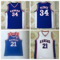 Kansas Jayhawks Wilt Chamberlain Jersey Erkek Koleji Joel Embiid 21 Paul Pierce 34 Andrew Wiggins Üniversitesi Mavi Beyaz Basketbol Forması