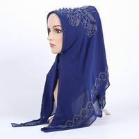 Scialle a testa di donne scialle con perline a forma di hijab musulmano per le donne Copricapo per le donne copricapo chiffon a forma di hijab musulmano
