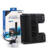 PS4 / PS4 Slim / PS4 PRO Supporto verticale con raffreddamento del ventilatore doppio regolatore del caricatore stazione di ricarica per Sony Playstation 4