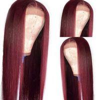 Синтетические парики Темно-красное вино Средняя часть Шелковистый прямой парик 26 дюймов с детским волосом 99J термостойкое волокно