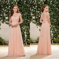 2020 Country Blush Rosa Chiffon Damigella d'onore Abiti da damigella Cappuccio Manicotti V Collo in pizzo Top Wedding Guest Wear Wear Sexy Low Back Maid of Honor Agaws a buon mercato